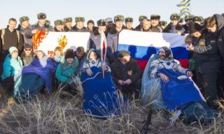 The International Space Station (ISS) crew rests after landing near the town of Zhezkazgan in central Kazakhstan